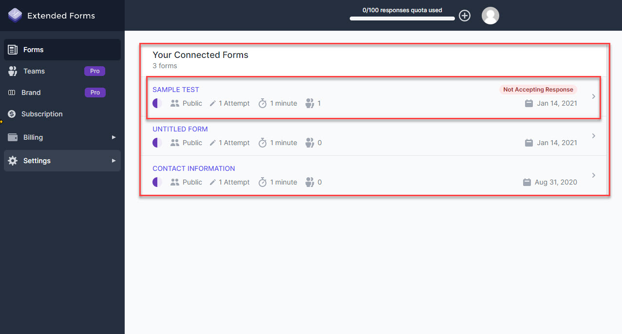 Extended Forms Configuration - Navigating to More Extended Forms Settings