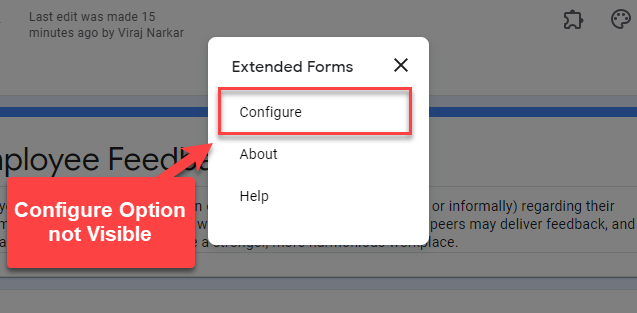 Configure - option is not visible - Extended Forms