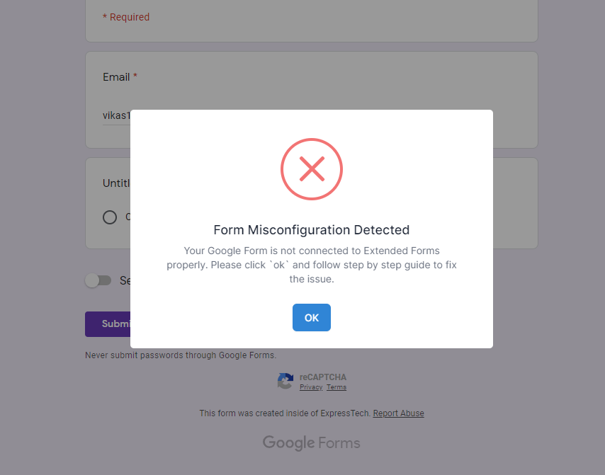 Re-Captcha Error - Error Code 4 -Form Misconfiguration Detected